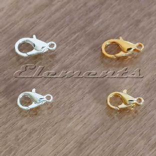 Silver / Gold Plated Lobster Carabiner Clasps 10mm 12mm